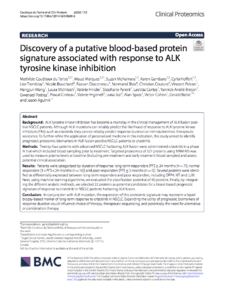Discovery of a putative blood-based protein signature associated with response to ALK tyrosine kinase inhibition
